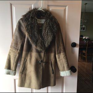 Jessica Simpson Fur Collar Brown Coat Xs